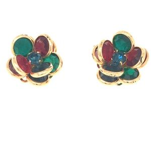 Vintage Crystal Floral Cluster Earrings
